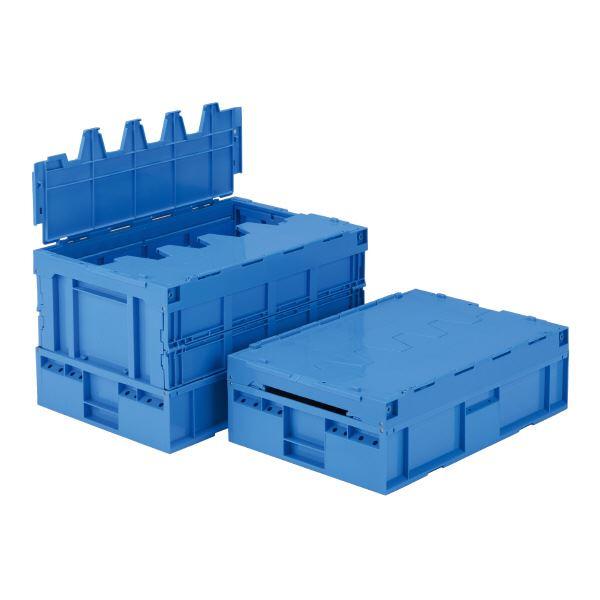 【送料無料】(業務用3個セット)三甲(サンコー) 折りたたみコンテナボックス/サンクレットオリコン 【フタ付き】 85B ブルー(青) 【代引不可】