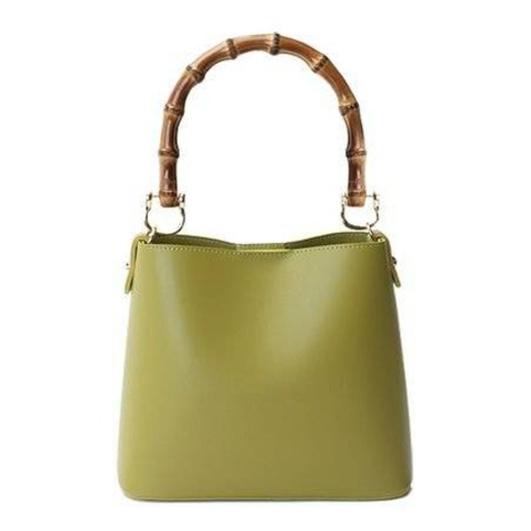【送料無料】持ち手がポイント♪パカッと開く出し入れ便利なハンドバッグ/グリーン
