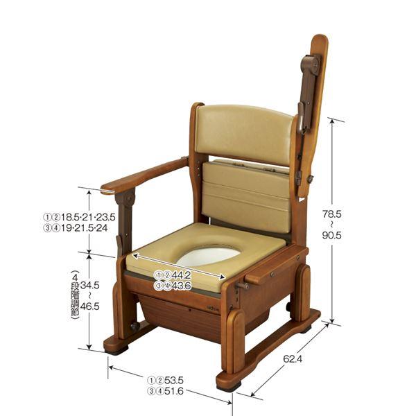 【送料無料】ウチヱ 木製ポータブルトイレ さわやかCH(ハネアゲ) 8241