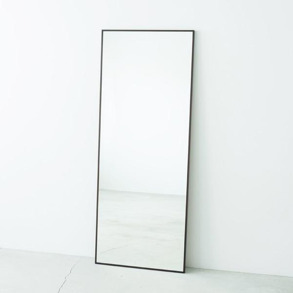 【送料無料】細枠ウォールミラー/姿見鏡 【ワイド/ブラウン】 幅60cm 天然木フレーム 飛散防止加工 日本製 【完成品】