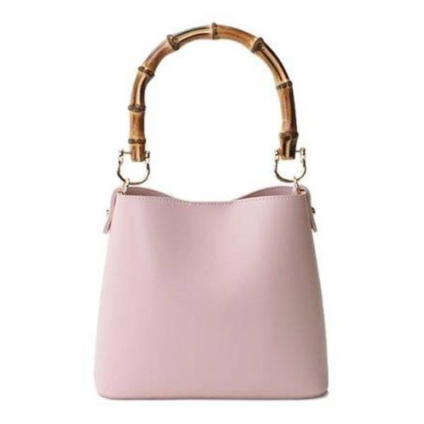 【送料無料】持ち手がポイント♪パカッと開く出し入れ便利なハンドバッグ/ピンク