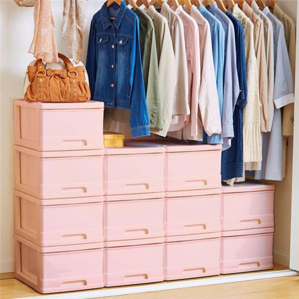 【送料無料】深型 収納ケース/キッチン収納 【12個組 ピンク】 幅34.5cm スタッキング可 プラスチック 日本製