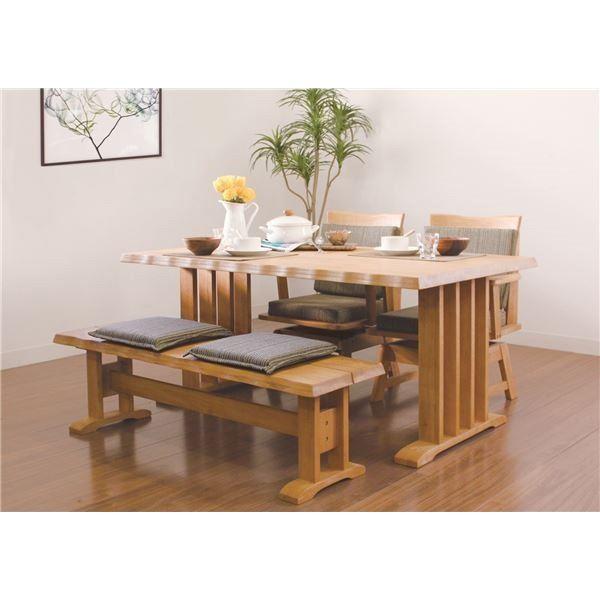 【送料無料】【単品】和風ダイニングテーブル/リビングテーブル 【長方形 幅150cm】 ナチュラル  木製 ブラッシング加工【代引不可】