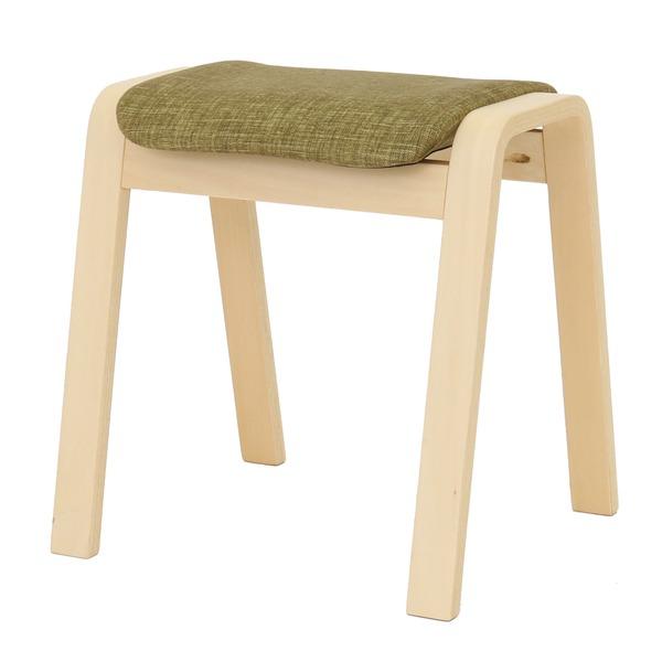 【送料無料】スタッキングスツール/腰掛け椅子 【同色4脚セット】 ファブリック木製脚 グリーン(緑) 【完成品】