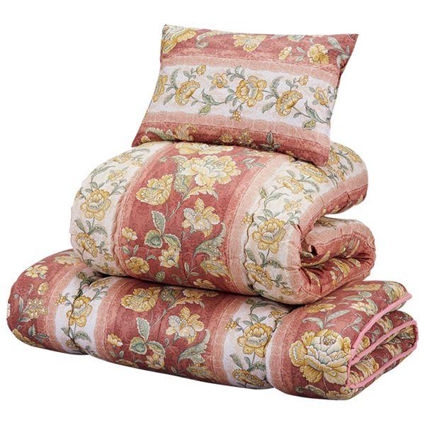 【送料無料】羊毛入り抗菌/防臭/防ダニ布団セット 【シングルサイズ/3点セット】 レッド 枕付き 日本製