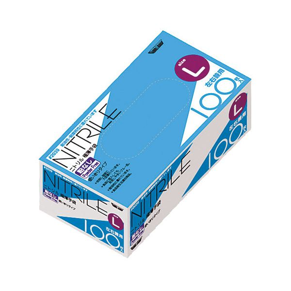 【送料無料】(業務用20セット) 川西工業 ニトリル極薄手袋 粉なし BL #2039 Lサイズ ブルー
