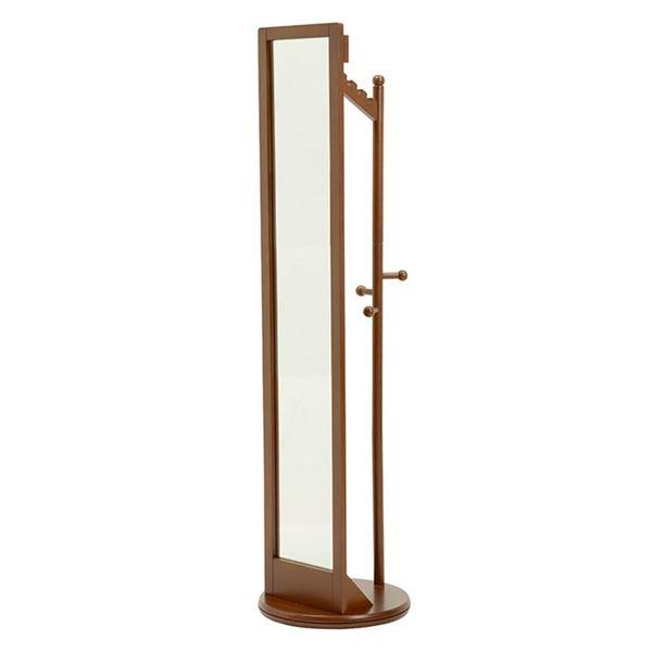 【送料無料】回転式ミラー/全身姿見鏡 【ブラウン】 木製 幅φ45cm×高さ170cm ハンガーラック付き【代引不可】