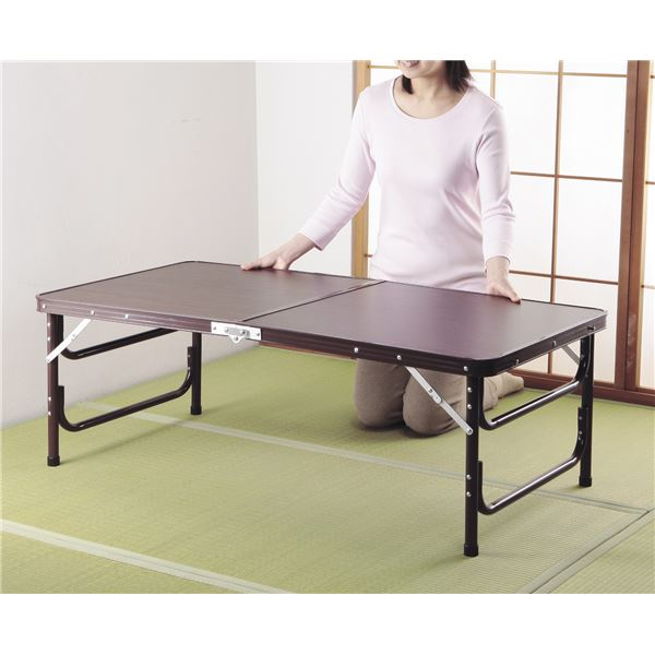 【送料無料】木目調軽量折りたたみテーブル 120cm幅【代引不可】