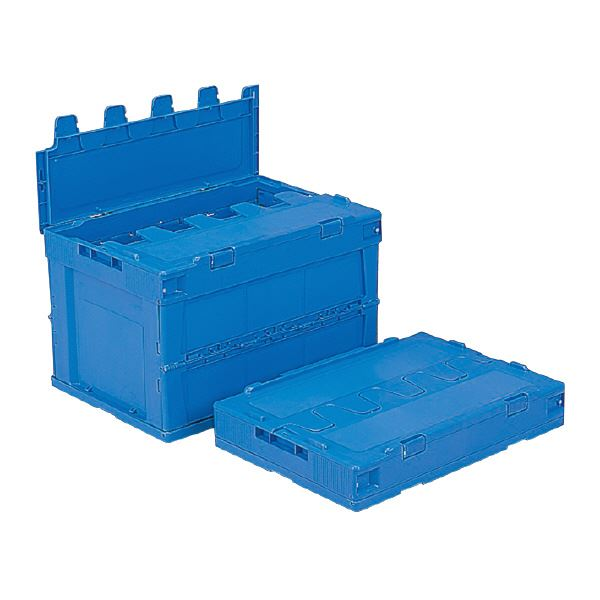 【送料無料】(業務用5個セット)三甲(サンコー) 折りたたみコンテナボックス/サンクレットオリコン 【フタ付き】 P51B-B ブルー(青) 【代引不可】