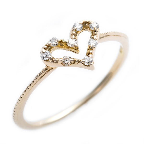 【送料無料】ダイヤモンド ピンキーリング K10 イエローゴールド ダイヤモンドリング 0.05ct 1.5号 アンティーク調 ハートモチーフ プリンセス 指輪