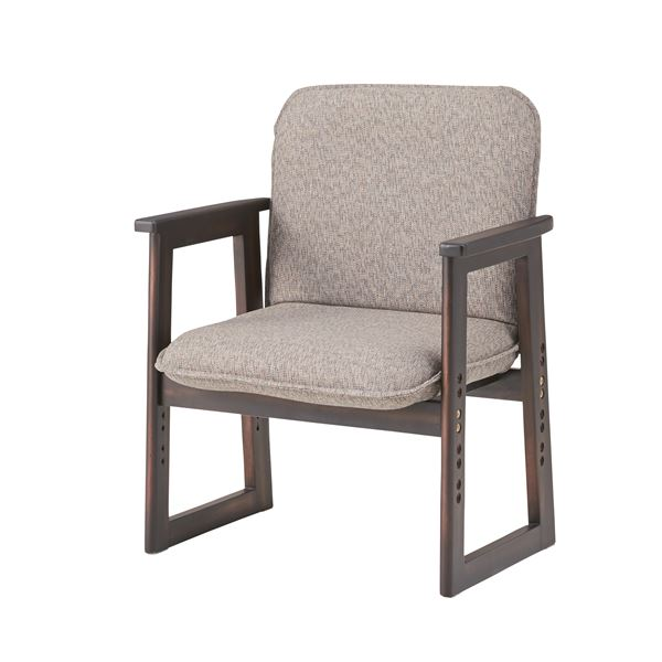 【送料無料】高座椅子/腰掛椅子 【高さ調節可】 天然木フレーム 肘付き 張地:ファブリック生地 NW-550