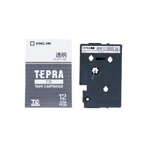 【送料無料】(業務用30セット) キングジム テプラTRテープ TT12K 透明に黒文字 12mm