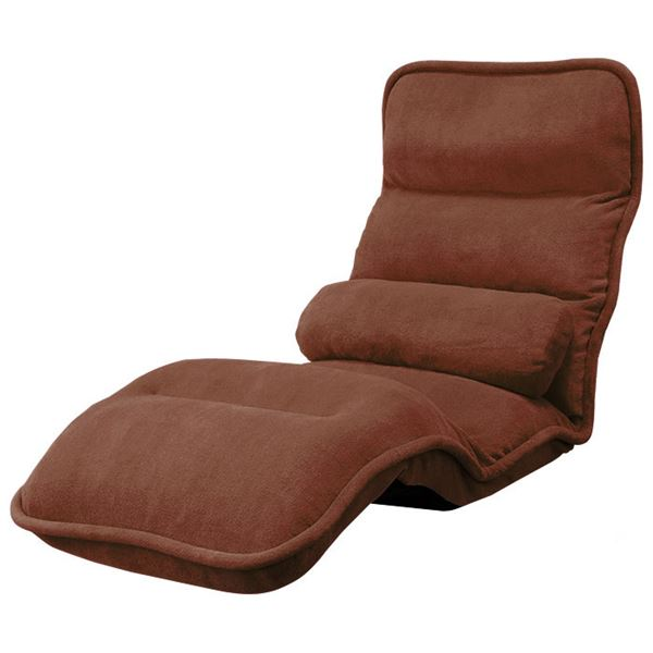 【送料無料】42段階省スペースギア全身もこもこ座椅子 レギュラー幅55cm ブラウン