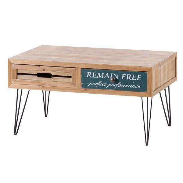 【送料無料】ビンテージ風引き出し収納付きセンターテーブル/ローテーブル 【幅80cm】 スチール×木製 CHP-374