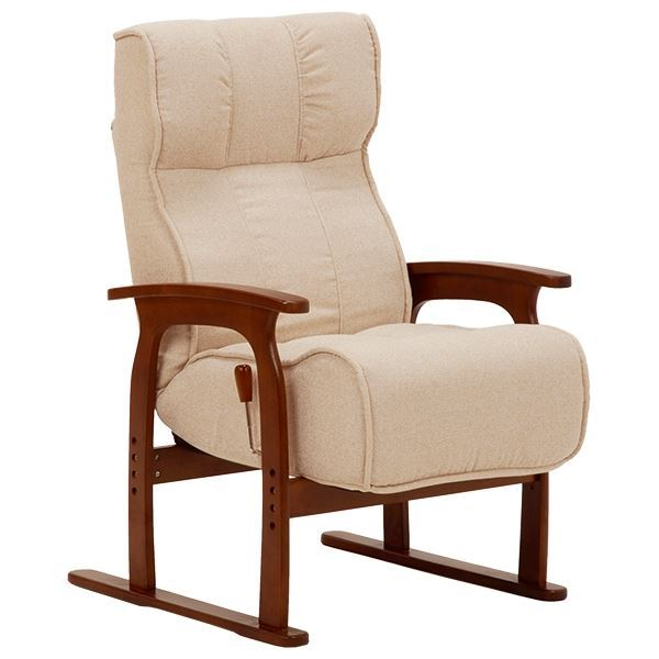 【送料無料】リクライニング座椅子(パーソナルチェア/フロアチェア) 肘掛け 座面:低反発ウレタン/ポケットコイル使用 アイボリー 【代引不可】