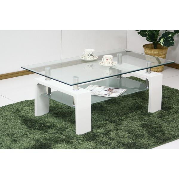 【送料無料】強化ガラステーブル/ローテーブル 【幅120cm】 高さ45cm 棚収納付き ホワイト(白)【代引不可】