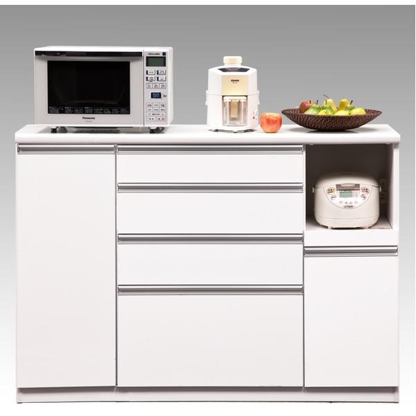 【送料無料】【開梱設置費込】キッチンカウンター ESシリーズ 140cm幅 レンジ台 ホワイト色 ハイタイプ 【日本製】【代引不可】