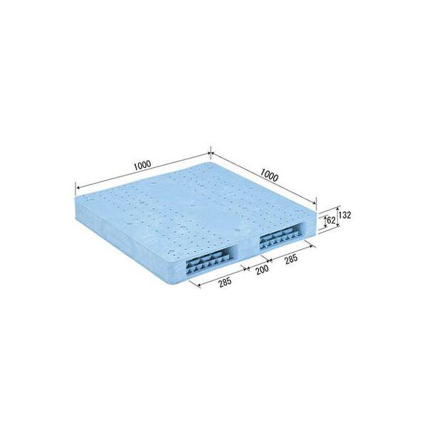 【送料無料】三甲(サンコー) プラスチックパレット/プラパレ 【両面使用型】 段積み可 R2-1010F ライトブルー(青)【代引不可】
