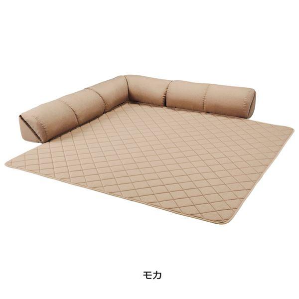 【送料無料】ゆったり・まったりクッション一体型ラグ(カーペット・絨毯) 【15mm厚L字型大】 グリーン