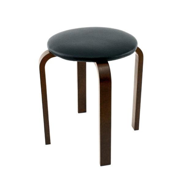 【送料無料】スタッキングスツール/丸椅子 【同色5脚セット】 座面:合成皮革(合皮) 木製脚 ブラック(黒) 【完成品】