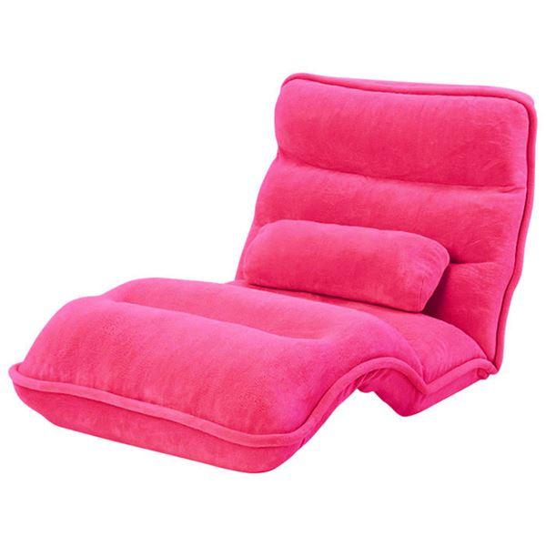 【送料無料】42段階省スペースギア全身もこもこ座椅子 ワイド幅75cm ビビッドピンク