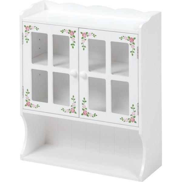 【送料無料】スパイスラック(調味料ラック/スパイスボックス) 幅42cm 扉/可動棚付き ローズ柄 ホワイト(白) 【代引不可】