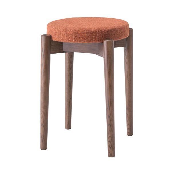 【送料無料】シンプルスタッキングスツール/腰掛け椅子 【ブラウン】 積み重ね可 クッション付き CL-782CBR