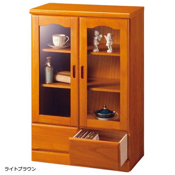 【送料無料】ガラス扉付きサイドボード 木製(天然木) 【1: 幅60cm/2杯】 ライトブラウン