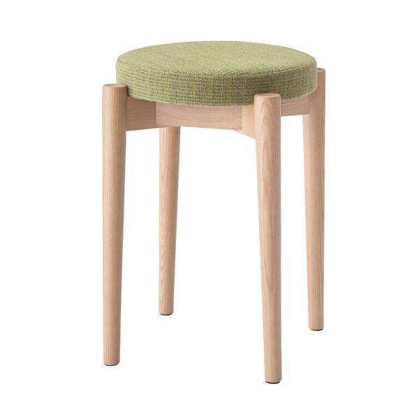 【送料無料】シンプルスタッキングスツール/腰掛け椅子 【グリーン】 積み重ね可 クッション付き CL-782CGR