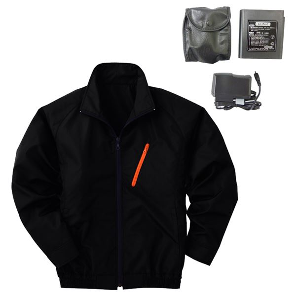 【送料無料】空調服 ポリエステル製長袖ブルゾン P-500BN 【カラー:ブラック サイズ:LL】 リチウムバッテリーセット