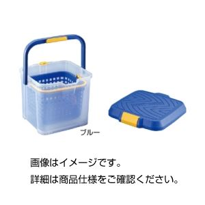 【送料無料】(まとめ)カゴ付バケツ ブルー【×3セット】