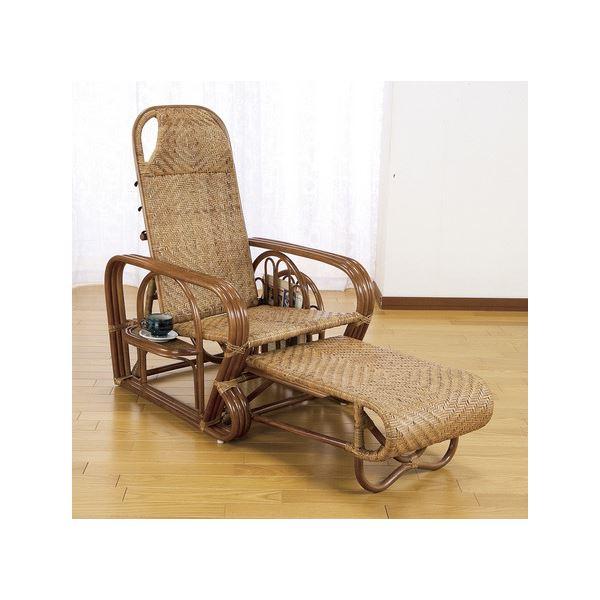 【送料無料】折りたたみリクライニングチェア(天然籐椅子) フットレスト/肘付き 【完成品】【代引不可】