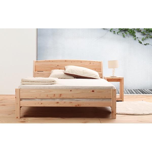 【送料無料】国産 宮付き ひのき すのこベッド(ベッドフレームのみ)セミダブル 無塗装【代引不可】