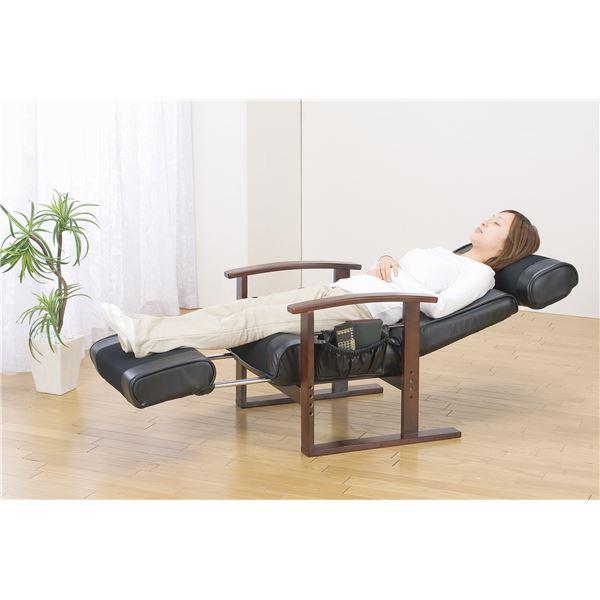 【送料無料】リクライニングチェア/高座椅子 【ブラック】 肘付き ヘッド&フットレスト付き 座面・背面中央:メッシュ生地【代引不可】