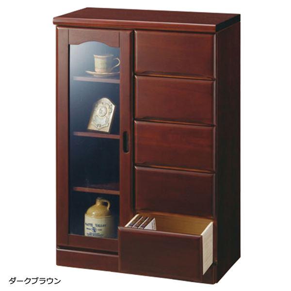【送料無料】ガラス扉付きサイドボード 木製(天然木) 【4: 幅60cm/5杯】 ダークブラウン
