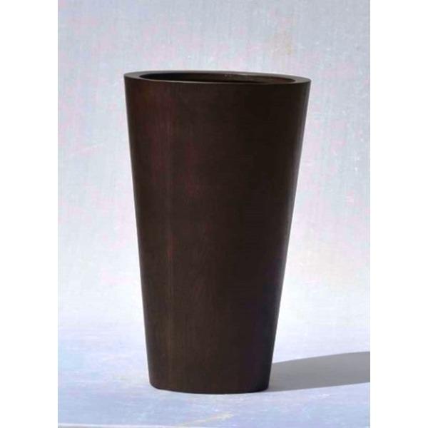【送料無料】木目調樹脂製鉢カバー MOKU ラウンド 40xH65cm