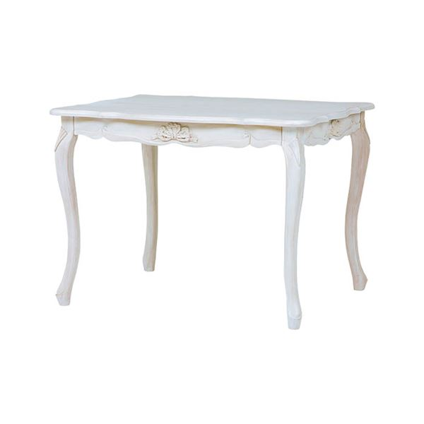 【送料無料】アンティーク調 ダイニングテーブル 【幅100cm】 木製 ウレタン 『フレンチリボンデザイン猫脚家具』 〔リビング〕