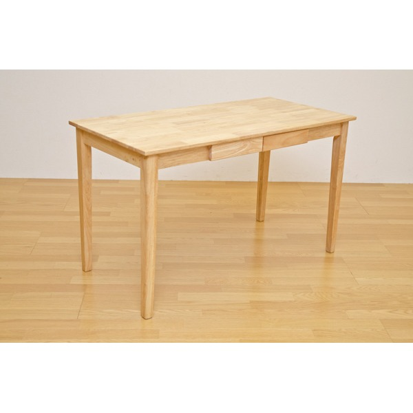 【送料無料】木製テーブル 【長方形 120cm×60cm】 引出し2杯付き ナチュラル 木目調 〔リビング/ダイニング/作業台〕【代引不可】