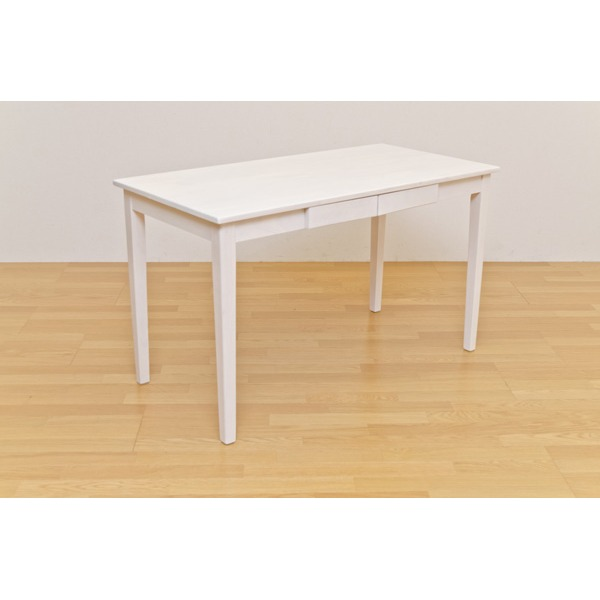 【送料無料】木製テーブル 【長方形 120cm×60cm】 引出し2杯付き ホワイトウォッシュ 木目調 〔リビング/ダイニング/作業台〕【代引不可】