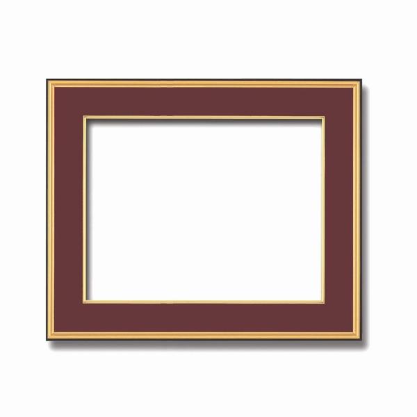 【送料無料】【和額】黒い縁に金色フレーム 日本画額 色紙額 木製フレーム ■黒金 色紙F10サイズ(530×455mm) エンジ