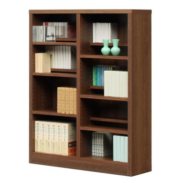 【送料無料】本棚/ブックシェルフ 【幅90cm】 高さ120cm 可動棚板12枚付き 木目調 日本製 ブラウン 【完成品】【代引不可】