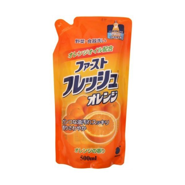 【送料無料】ファーストフレッシュオレンジつめかえ用 500ml 【(20本×10ケース)合計200本セット】 30-591