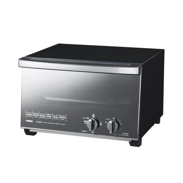【送料無料】ツインバード ミラーガラスオーブントースター ブラック TS-D047B