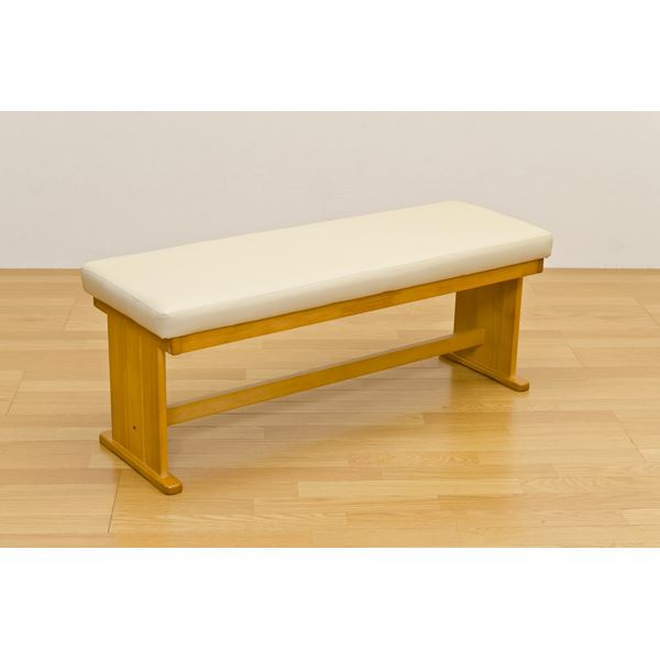【送料無料】ダイニングベンチチェア/スツール 【幅117cm】 木製 張地:合成皮革/合皮 BRISTOL ナチュラル【代引不可】
