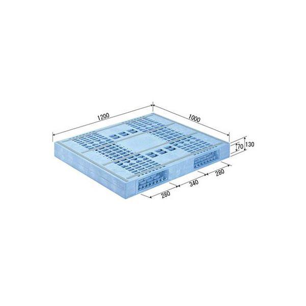 【送料無料】三甲(サンコー) プラスチックパレット/プラパレ 【両面使用型】 冷凍倉庫用パレット 段積み可 R2-1012F-2 ライトブルー(青)【代引不可】
