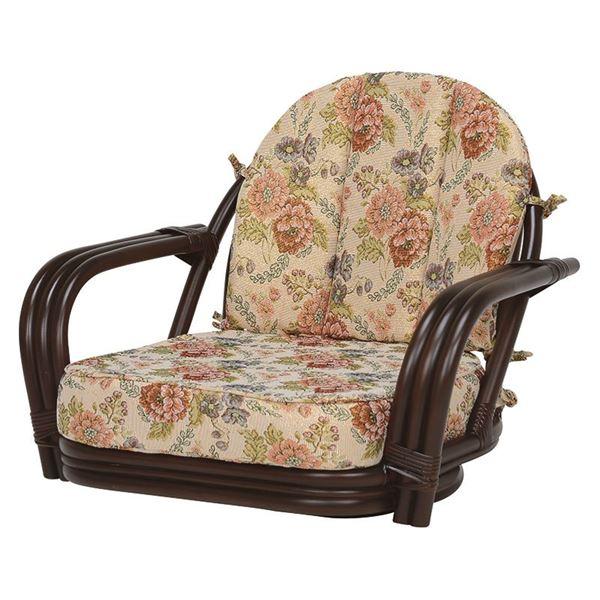 【送料無料】回転座椅子/籐椅子 【座面高16cm】 肘付き 花柄 ダークブラウン 【代引不可】