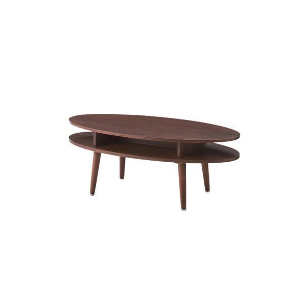 【送料無料】北欧調オーバルテーブル/ローテーブル 【幅105cm ウォールナット】 木製 NYT-762WAL