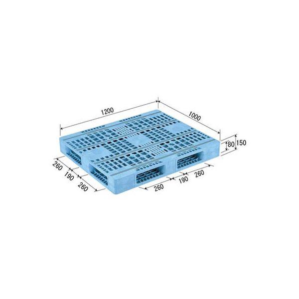 【送料無料】三甲(サンコー) プラスチックパレット/プラパレ 【両面使用型】 段積み可 R4-1012F-3 (PE) ライトブルー(青)【代引不可】