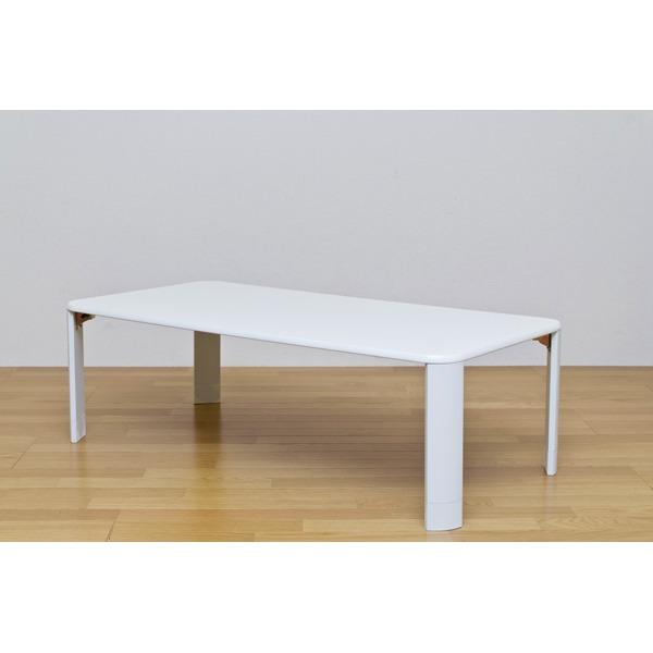 【送料無料】伸長式折りたたみローテーブル/継脚フォールディングテーブル 【120cm×60cm】 ホワイト(白)【代引不可】