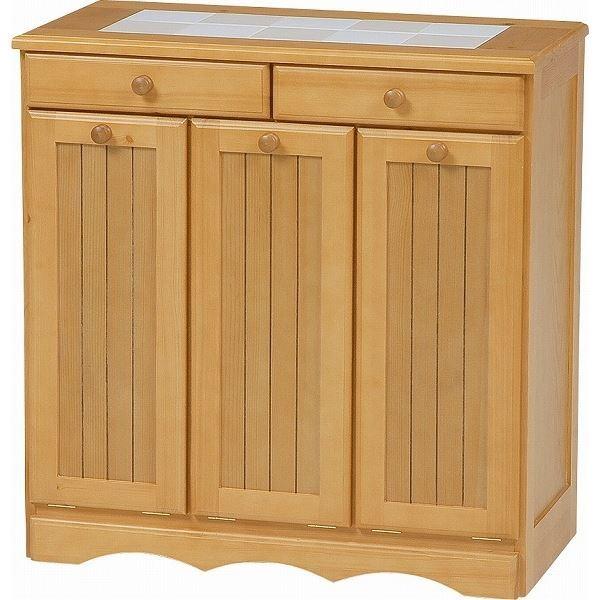 【送料無料】ダストボックス 木製おしゃれゴミ箱 3分別 15Lペール3個/キャスター付き ナチュラル 【完成品】 【代引不可】